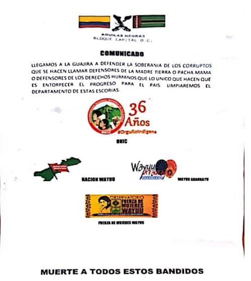 Panfleto regado en el departamento de La Guajira
